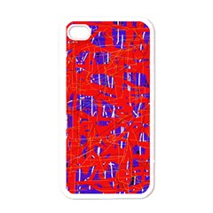 Blue and red pattern Apple iPhone 4 Case (White)