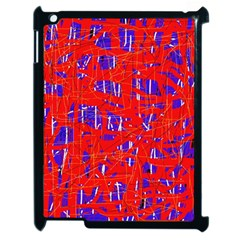 Blue and red pattern Apple iPad 2 Case (Black)