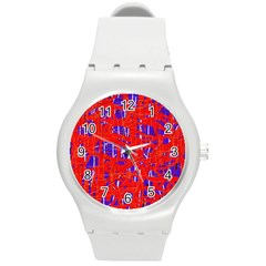 Blue and red pattern Round Plastic Sport Watch (M)