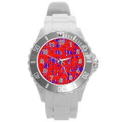 Blue and red pattern Round Plastic Sport Watch (L)