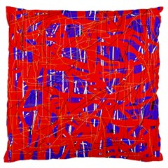 Blue and red pattern Large Cushion Case (One Side)