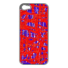 Blue and red pattern Apple iPhone 5 Case (Silver)