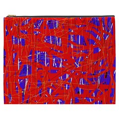 Blue and red pattern Cosmetic Bag (XXXL)