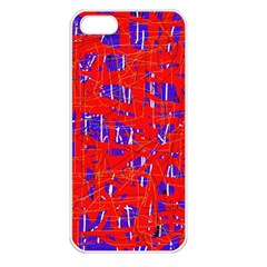 Blue and red pattern Apple iPhone 5 Seamless Case (White)
