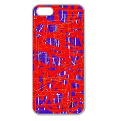 Blue and red pattern Apple Seamless iPhone 5 Case (Clear)