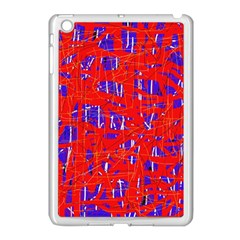 Blue and red pattern Apple iPad Mini Case (White)