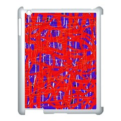Blue and red pattern Apple iPad 3/4 Case (White)