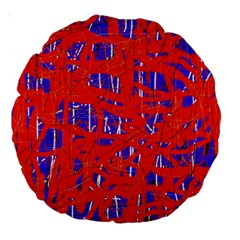 Blue and red pattern Large 18  Premium Round Cushions