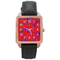 Blue and red pattern Rose Gold Leather Watch