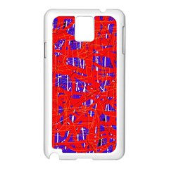 Blue and red pattern Samsung Galaxy Note 3 N9005 Case (White)
