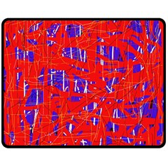 Blue and red pattern Double Sided Fleece Blanket (Medium)