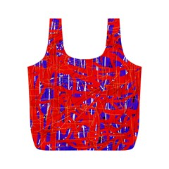 Blue and red pattern Full Print Recycle Bags (M)