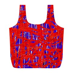 Blue and red pattern Full Print Recycle Bags (L)