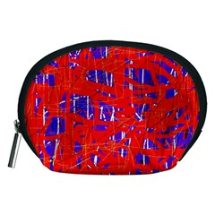 Blue and red pattern Accessory Pouches (Medium)