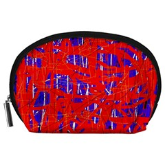 Blue and red pattern Accessory Pouches (Large)