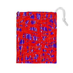 Blue and red pattern Drawstring Pouches (Large)