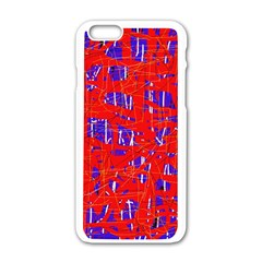 Blue and red pattern Apple iPhone 6/6S White Enamel Case