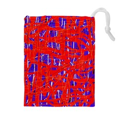 Blue and red pattern Drawstring Pouches (Extra Large)