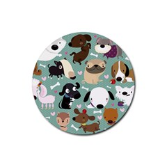 Dog Pattern Rubber Round Coaster (4 pack)