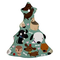 Dog Pattern Christmas Tree Ornament (2 Sides)