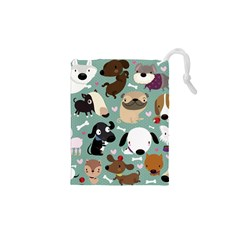 Dog Pattern Drawstring Pouches (XS)