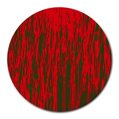 Red and green pattern Round Mousepads
