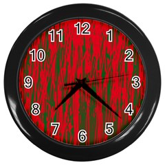 Red and green pattern Wall Clocks (Black)