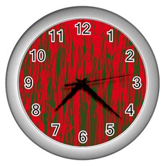 Red and green pattern Wall Clocks (Silver)