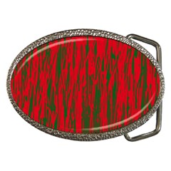 Red and green pattern Belt Buckles