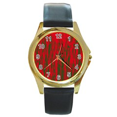 Red and green pattern Round Gold Metal Watch
