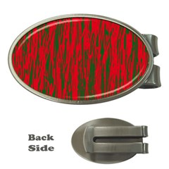 Red and green pattern Money Clips (Oval)