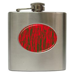 Red and green pattern Hip Flask (6 oz)