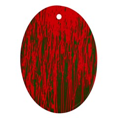 Red and green pattern Oval Ornament (Two Sides)