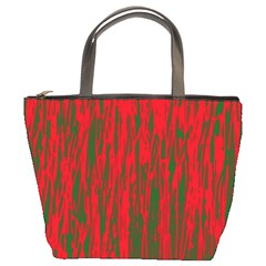 Red and green pattern Bucket Bags