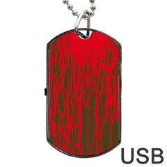 Red and green pattern Dog Tag USB Flash (One Side)
