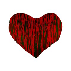 Red and green pattern Standard 16  Premium Heart Shape Cushions