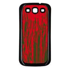 Red and green pattern Samsung Galaxy S3 Back Case (Black)