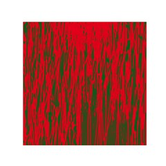 Red and green pattern Small Satin Scarf (Square)