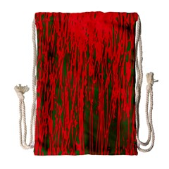 Red and green pattern Drawstring Bag (Large)