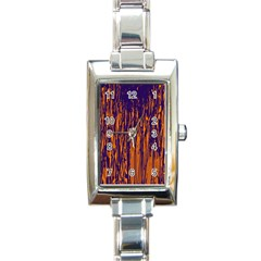 Blue and orange pattern Rectangle Italian Charm Watch