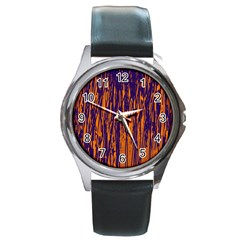 Blue and orange pattern Round Metal Watch