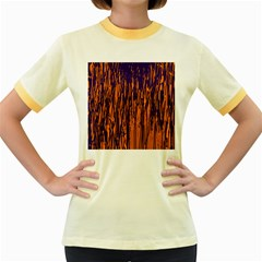 Blue and orange pattern Women s Fitted Ringer T-Shirts