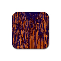 Blue and orange pattern Rubber Square Coaster (4 pack)