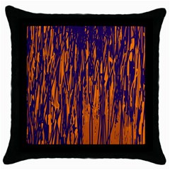 Blue and orange pattern Throw Pillow Case (Black)