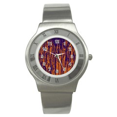 Blue and orange pattern Stainless Steel Watch