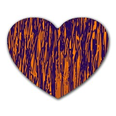 Blue and orange pattern Heart Mousepads