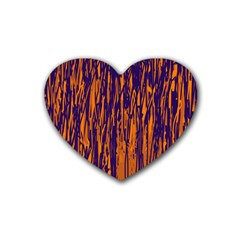 Blue and orange pattern Rubber Coaster (Heart)