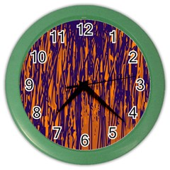 Blue and orange pattern Color Wall Clocks