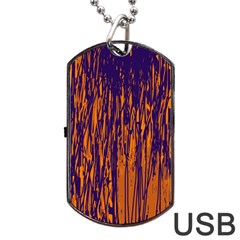 Blue and orange pattern Dog Tag USB Flash (One Side)