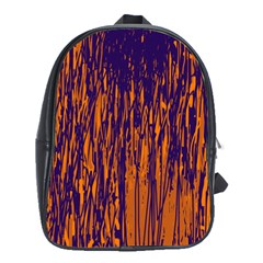 Blue and orange pattern School Bags (XL)